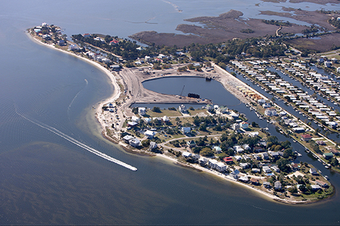 Shell Point aerial view looking NW, in 2007, courtesy Mark Wallheiser